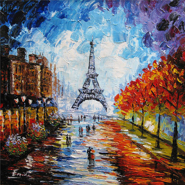 Paris Poster featuring the painting palette knife painting Paris Eiffel tower by Enxu Zhou