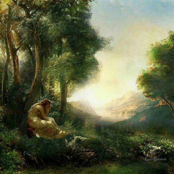Woman Poster featuring the painting Pastoral Meditation by Laura Botsford