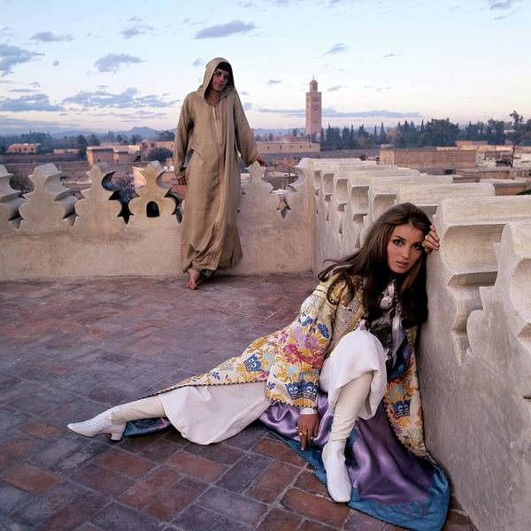 Fashion Poster featuring the photograph Paul Getty Jr And Talitha Getty On A Terrace by Patrick Lichfield