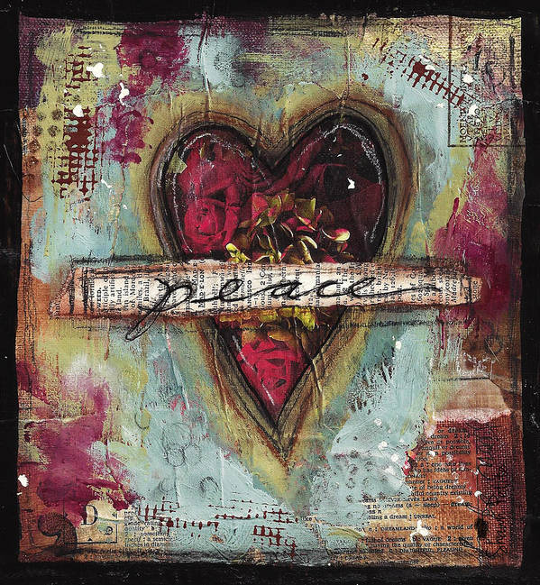 Heart Poster featuring the mixed media Peace by Shawn Petite
