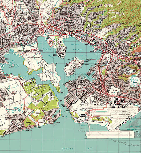 Pearl Harbor Topographic Map Poster By Mountain Dreams