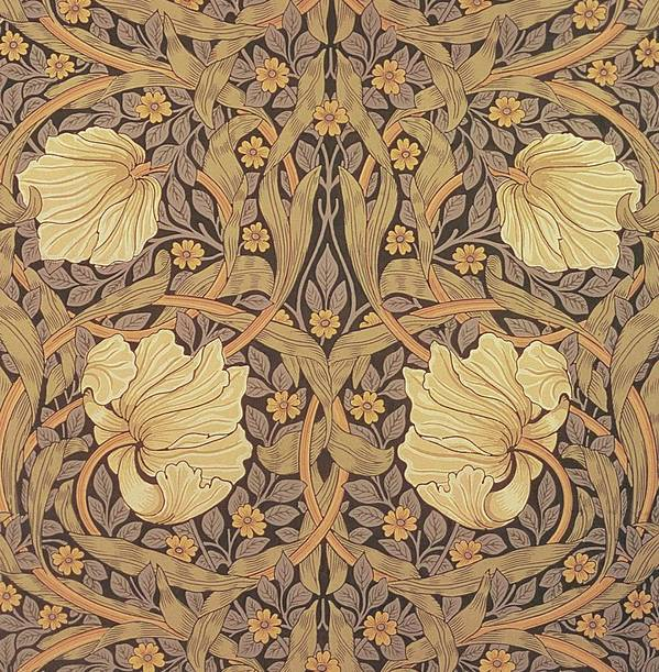 Pattern Poster featuring the tapestry - textile Pimpernel Wallpaper Design by William Morris