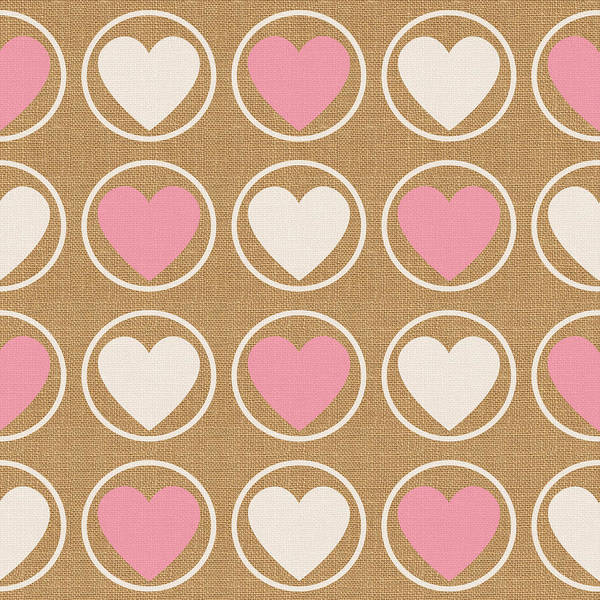 Hearts Poster featuring the mixed media Pink and White Hearts by Linda Woods