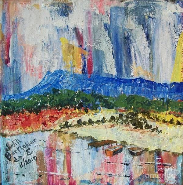 Massanutten Peak Poster featuring the painting Pond by Massanutten Peak - SOLD by Judith Espinoza