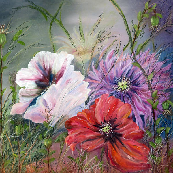 Poppies Poster featuring the painting Poppies Passing by Mikki Alhart