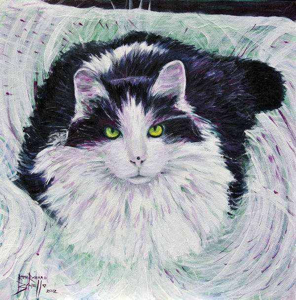 Cat Poster featuring the painting Portrait Of Pj by Ron Richard Baviello