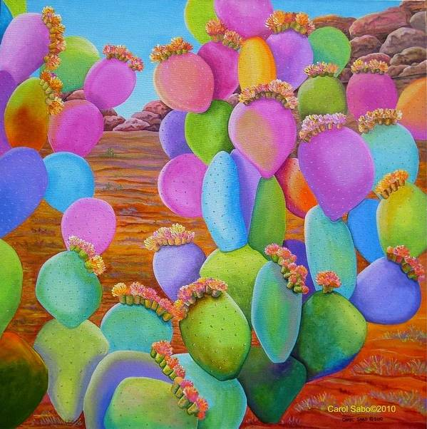 Cactus Poster featuring the painting Prickly Pear Cactus-Eye Candy by Carol Sabo