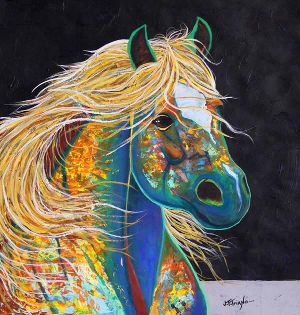 Wildlife Poster featuring the painting Rainbow Warrior - Mestengo by Joe Triano