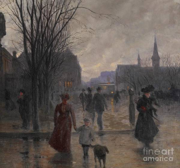 Mn Poster featuring the painting Rainy Evening On Hennepin Avenue by Robert Koehler
