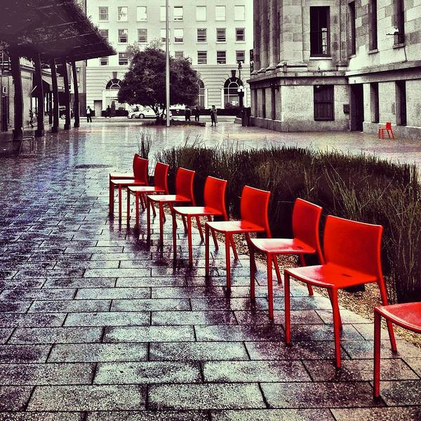 Poster featuring the photograph Red Chairs At Mint Plaza by Julie Gebhardt