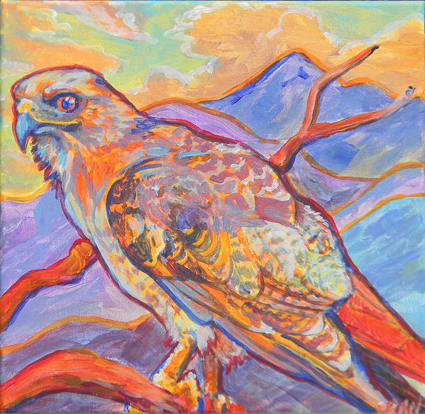 Hawk Poster featuring the painting Red Tail Visit by Jenn Cunningham