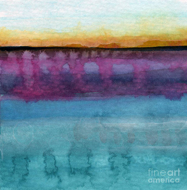 Abstract Landscape Painting Poster featuring the painting Reflection by Linda Woods
