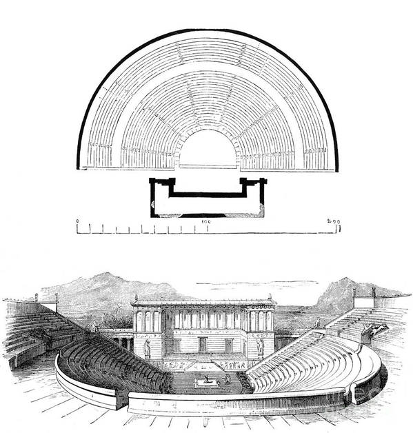 History Poster featuring the photograph Restoration Of The Greek Theater by Photo Researchers