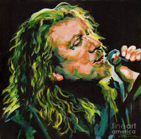 Tanya Filichkin Poster featuring the painting Robert Plant 40 Years Later Like Never Been Gone by Tanya Filichkin