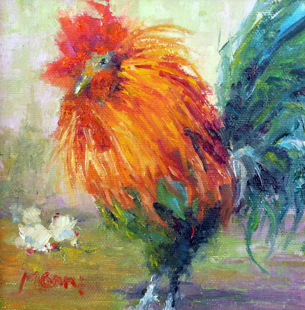 Rooster Poster featuring the painting Rocky The Rooster by Marie Green