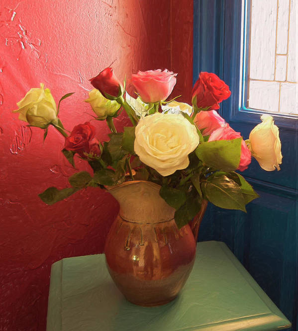 Still Life Poster featuring the digital art Roses For Sandra by Sandra Selle Rodriguez