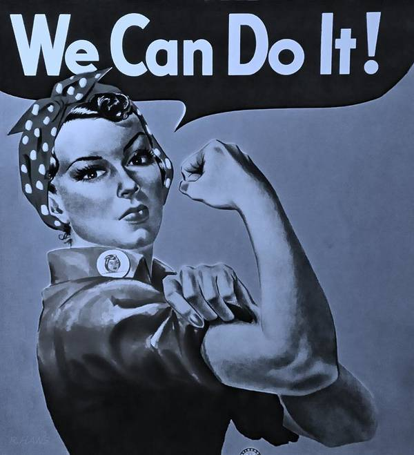Rosie The Riveter Poster featuring the photograph Rosie In Cyan by Rob Hans