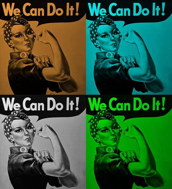 Rosie The Riveter Poster featuring the photograph ROSIE in QUAD COLORS by Rob Hans