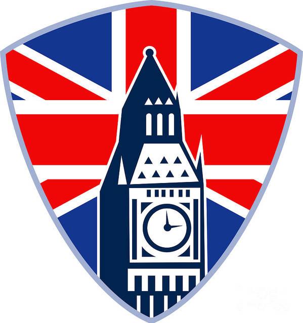 Athlete Poster featuring the digital art Runner Sprinter Start British Flag Shield by Aloysius Patrimonio