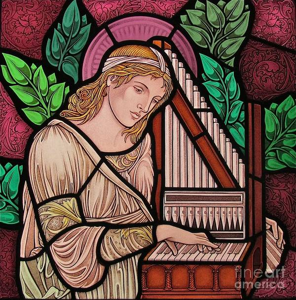 Stained Glass Poster featuring the glass art Saint Cecilia by Gilroy Stained Glass