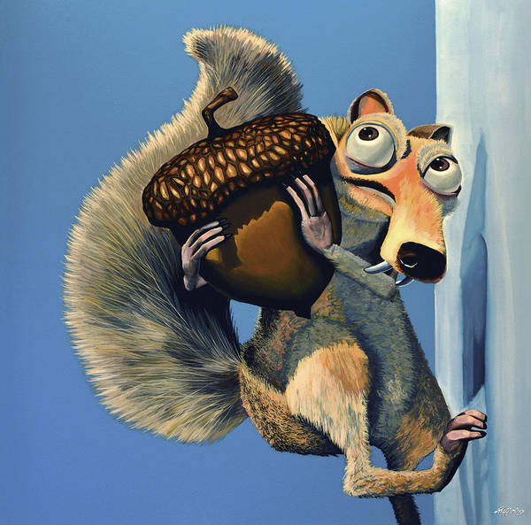 Scrat Poster featuring the painting Scrat Of Ice Age by Paul Meijering
