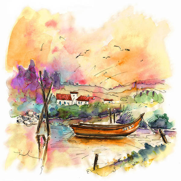 Portugal Poster featuring the painting Seascape in Portugal 02 by Miki De Goodaboom