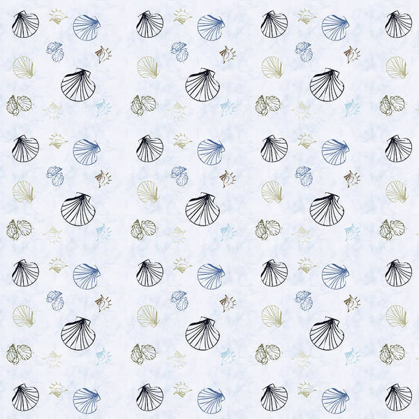 Seashell Poster featuring the mixed media Seashell Pattern by Christina Rollo