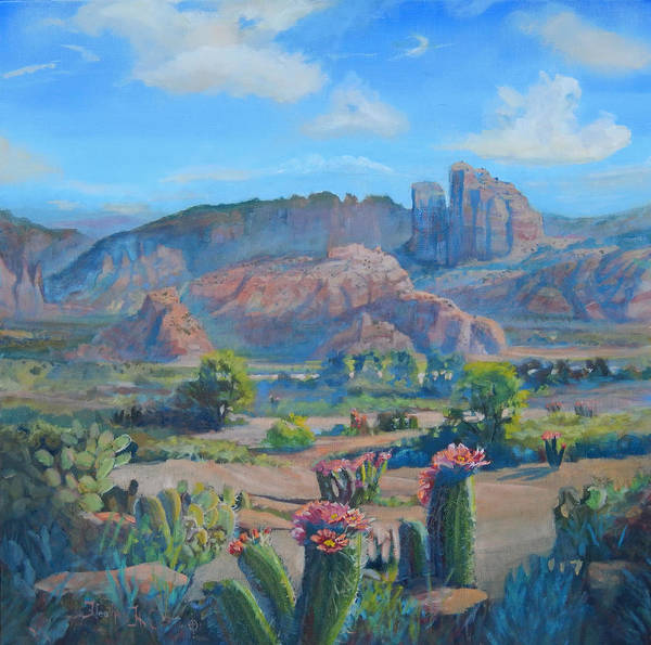 Cowboy Poster featuring the painting Sedona Blooms by Heather Coen