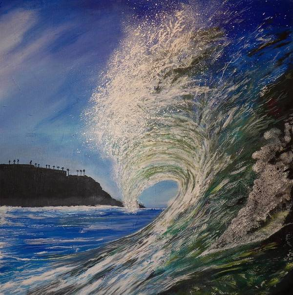 Waves Poster featuring the painting So Cal Wave by Jim Reale