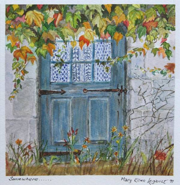 Autumn Leaves Poster featuring the painting Somewhere by Mary Ellen Mueller Legault