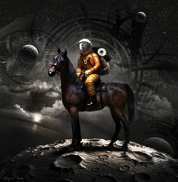 Space Poster featuring the digital art Space Tourist by Vitaliy Gladkiy