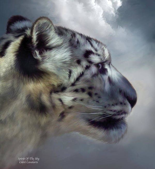 Snow Leopard Poster featuring the mixed media Spirit Of The Sky by Carol Cavalaris