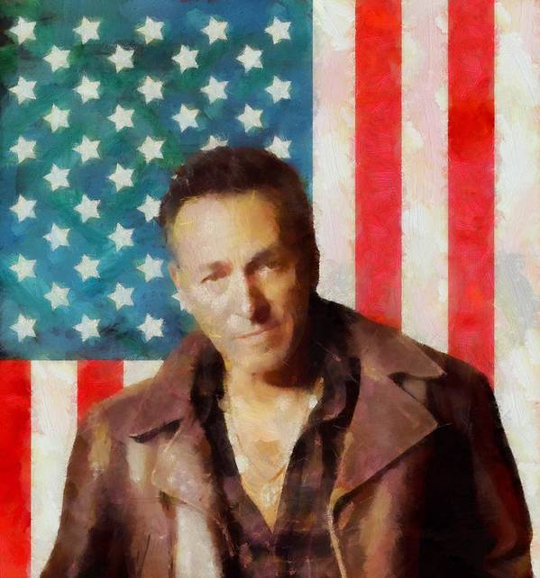 Springsteen American Icon Poster featuring the digital art Springsteen American Icon by Dan Sproul