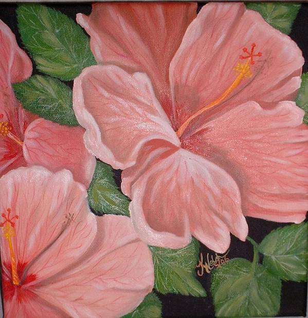 Hibiscus Poster featuring the painting Square Foot Hibiscus by Kathern Welsh