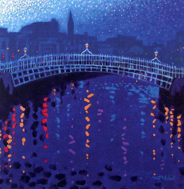 Acrylic Poster featuring the painting Starry Night In Dublin by John Nolan