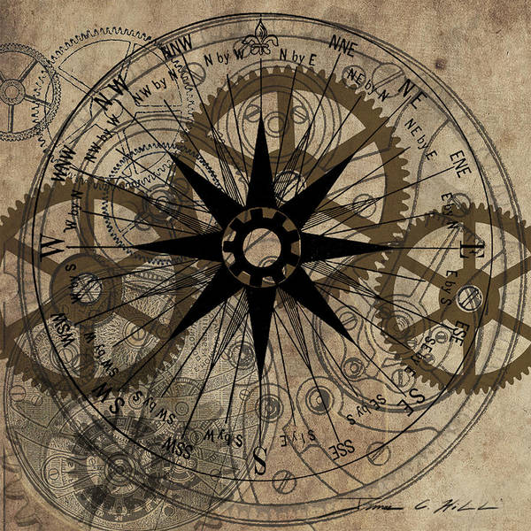 Steampunk Poster featuring the painting Steampunk Gold Gears II by James Christopher Hill