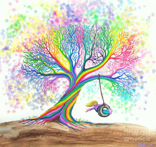 Colorful Art Poster featuring the painting Still More Rainbow Tree Dreams by Nick Gustafson