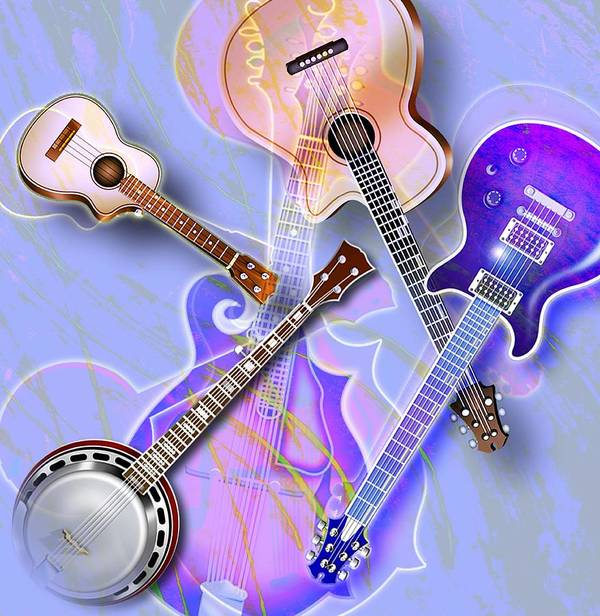 Acoustic Guitar Poster featuring the photograph Stringed Instruments by Design Pics Eye Traveller