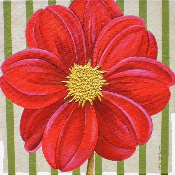 Acrylic Poster featuring the painting Stripes-Dahlia II by Carol Sabo