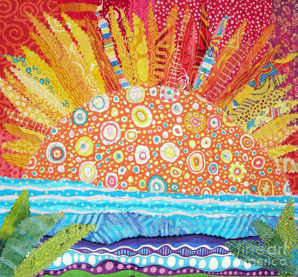 Sunrise Poster featuring the tapestry - textile Sun Glory by Susan Rienzo