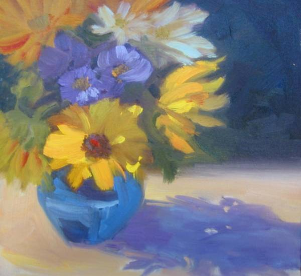 Sunflowers Poster featuring the painting Sunflowers And Daisies by Suzanne Elliott