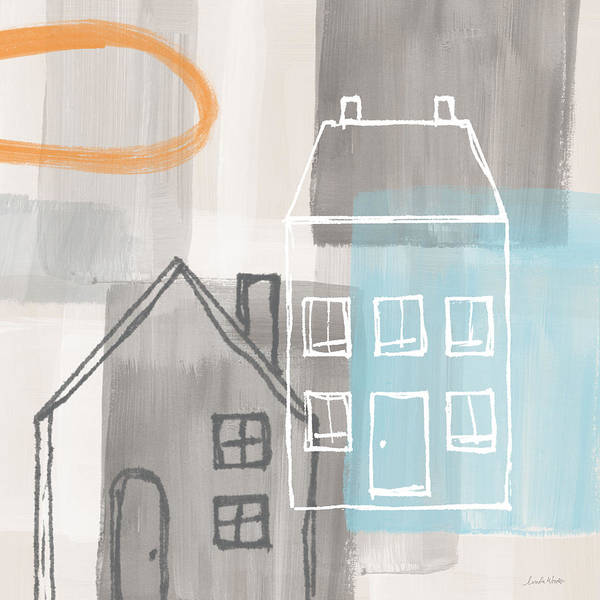 Houses Poster featuring the painting Sunset in The City by Linda Woods