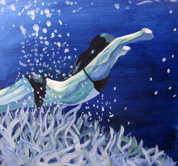 Swim Poster featuring the painting Swim by Ingrid Torjesen