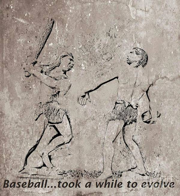 The Evolution Of Baseball Poster featuring the digital art The Evolution Of Baseball by John Malone