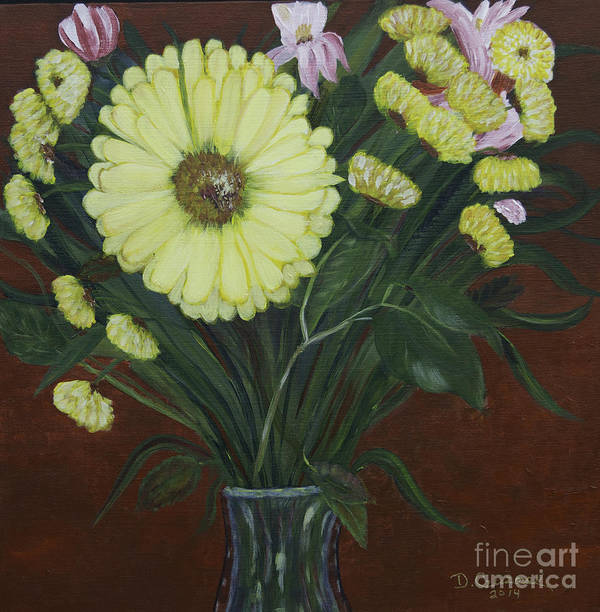 Acrylic Art Poster featuring the painting The Giant Daisy by Donna Guzman