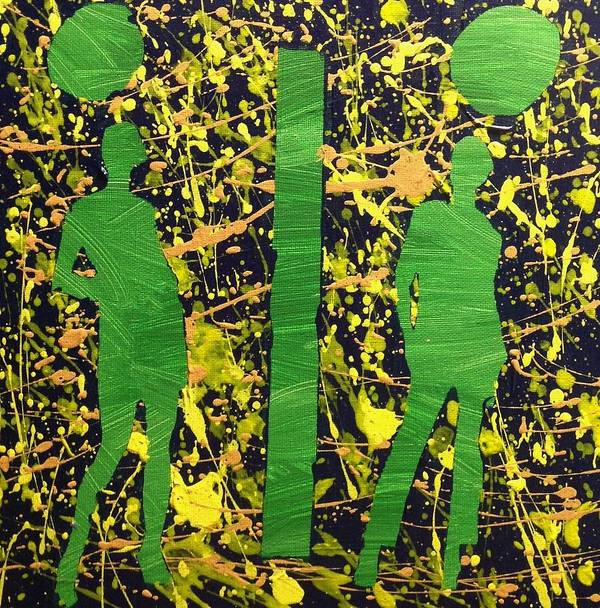 Green Poster featuring the painting The Great Divide 2 by Mark Thompson Jr