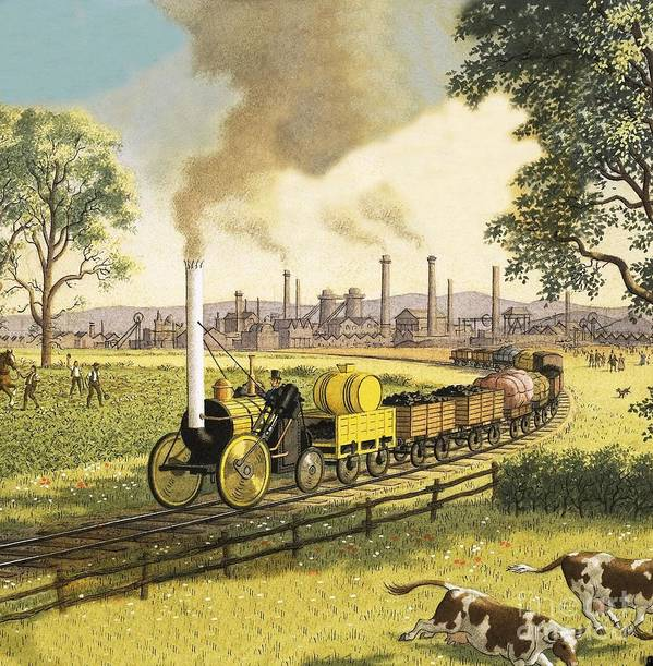 Steam Engine Poster featuring the painting The Industrial Revolution by Ronald Lampitt