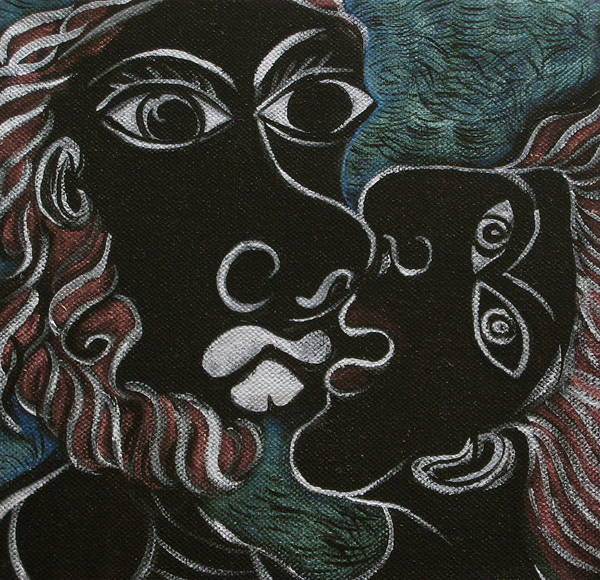 Original Poster featuring the painting The Kiss by Sue Wright