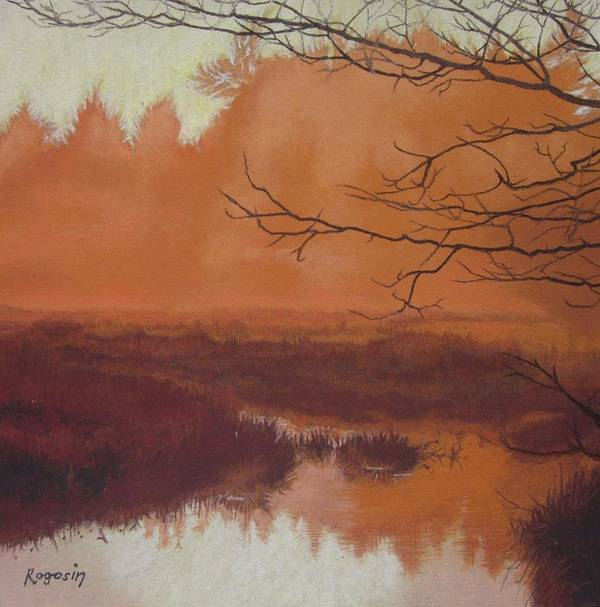 Marsh Poster featuring the painting The Marsh Before The Sun Breaks by Harvey Rogosin