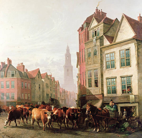 Cows Poster featuring the painting The Old Smithfield Market by Thomas Sidney Cooper